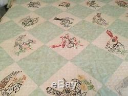 Vintage Handmade Quilt Embroidered State Birds