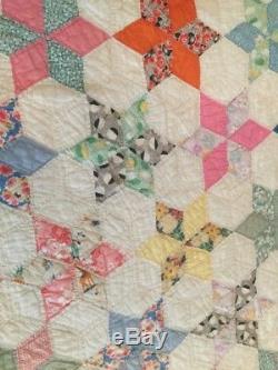 Vintage Handmade Quilt Feed Sacks 1930s