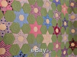 Vintage Handmade Quilt Flowers 95 x 76