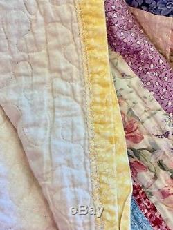 Vintage Handmade Quilt Geometric Star Chintz Flowers & Script 106 x 106