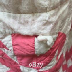 Vintage Handmade Quilt Hand Pieced Pink White Machine Quilted