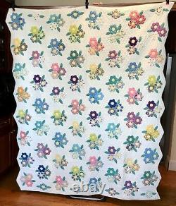 Vintage Handmade Quilt Hexagon Flower Bouquet Hand Quilted W Provenance 1950s