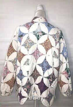 Vintage Handmade Quilt Jacket Womens Floral Zip Down Quilted Coat Prairie