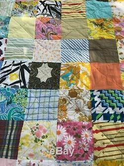 Vintage Handmade Quilt Machine Stitched Scraps Full / Queen 76 x 102