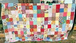 Vintage Handmade Quilt Machine Stitched Scraps Novelty Prints Twin Sz 92 x 75