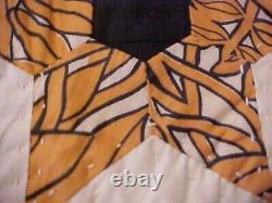 Vintage Handmade Quilt, Multicolored Stars Design