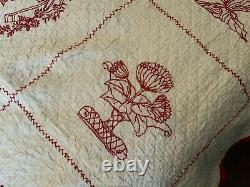Vintage Handmade Quilt Red Work