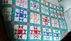 Vintage Handmade Quilt Star pattern 68x82 Estate Find