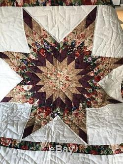 Vintage Handmade Quilt Wall Hanging 8 Point Star Kutztown, PA 1990