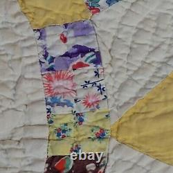 Vintage Handmade Quilt Wedding Ring 73 X 75 Yellow Blue Red Pink