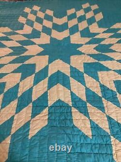 Vintage Handmade Quilt in Green And Yellow Star Design