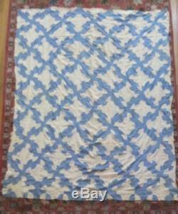 Vintage Handmade Quilt top Drunkards Path Pattern Blue & White 63x 78 1930's