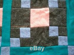Vintage Handmade Reversible Patchwork Quilted Single Bedspread Quilt throw76x50