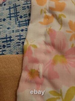 Vintage Handmade Stitched Hand Tied Yarn Grandmothers Flower Garden Cotton Quilt