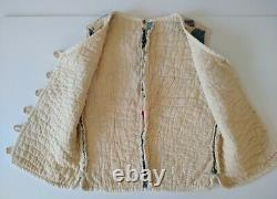 Vintage Handmade Vest Quilted Patchwork Women's X-Small w 2 Yo Yo's wood buttons