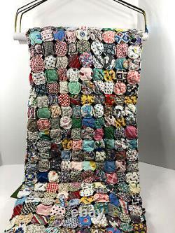 Vintage Handmade Yo Yo Patchwork Quilt Topper Colorful Print 82x62 Hand Stitch
