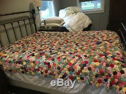 Vintage Handmade YoYo Patchwork Quilt Colorful Prints Size 83 x 100