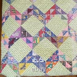 Vintage Handmade Zig Zag Quilt with Feed Sack Triangles Colorful 74x80 GC