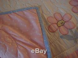 Vintage, Heirloom handmade appliqued baby quilt