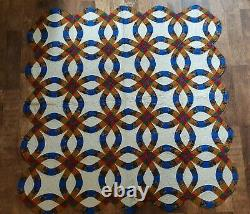 Vintage Homemade Handmade Patchwork Double Wedding Ring Quilt Very Good Conditi