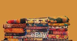 Vintage Kantha Quilt Handmade Indian Cotton Bedspread Lot 25 piece
