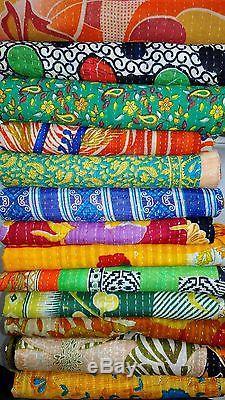 Vintage Kantha Quilt Reversible Throw Gudri Wholesale Handmade Indian 10 Pcs