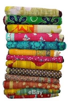 Vintage Kantha Quilt Reversible Throw Gudri Wholesale Handmade Indian Lot 10 pcs
