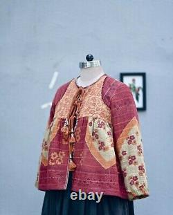 Vintage Kantha Quilted Boho Cropped and Flared Jacket