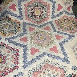 Vintage King Size Grandmothers Flower Garden Variation Hand Made Quilt