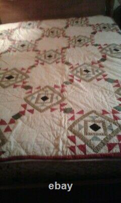 Vintage King Triangle Patchwork Quilt Handmade Hand Stitched Large 72 x 84