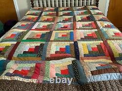 Vintage Log Cabin Hand Stitched Hand Pieced Quilt 90x104 Cotton Strip Quilt F/QU