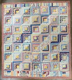 Vintage Log Cabin Quilt Handmade Crazy Homemade Antique Blanket