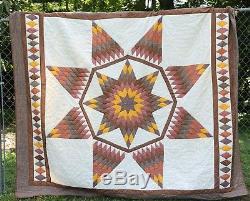 Vintage Lone Star Handmade Amish Patchwork Quilt 100 x 82