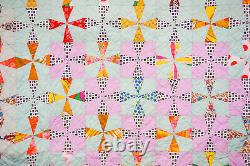 Vintage Mint Green & Multi Color Quilt Pin Wheel Hand Made & Quilted 1960's