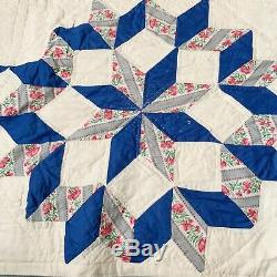 Vintage Multi Color Hand Stitched Patchwork Quilt Full Twin Handmade 66 X 82