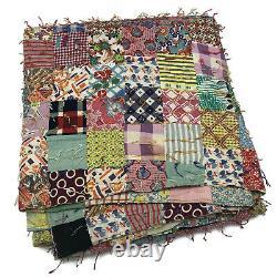 Vintage Multicolor Handmade Quilt Floral Checked Mixed Patterns Yarn Fringe VTG
