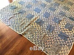 Vintage Ocean Wave Blue White Quilt Hand Stitched Handmade 60x68 1930s Folk Art