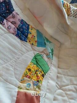 Vintage Patchwork Coming Home Quilt Bedspread Queen 94X80