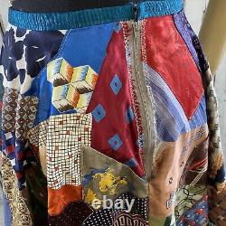Vintage Patchwork Crazy Quilt Circle Skirt SMALL Silk Scarf Embroidered OOAK