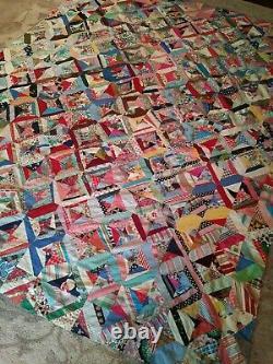 Vintage Patchwork Folk Art Quilt Top Handmade 84x70 Quilt Top Clean Stunning WOW