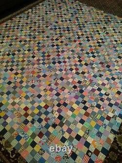 Vintage Patchwork Handmade Quilt Top Great Colors Folk Art Quilt Top 88x80 WOW