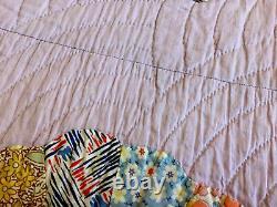 Vintage Patchwork Quilt, Dresden Plate, 1930s, Calico Prints, Multi, Lavender