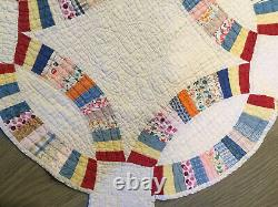 Vintage Patchwork Quilt, Hand Made, 1930s, Double Wedding Ring, White Red Blue
