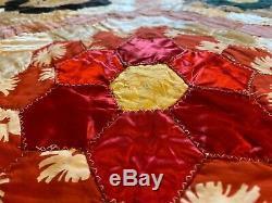 Vintage Patchwork Satin Velvet Granny Handmade Quilt Blanket 76 hexagon Flower