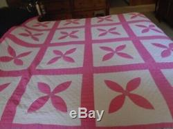 Vintage Pink And White Handmade Quilt 71 X 74