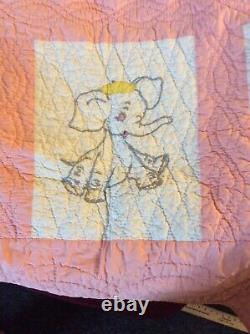 Vintage Pink & White Embroidered Animal Baby CRIB QUILT, very well made