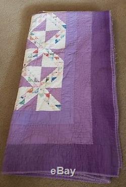 Vintage Purple Quilt Handmade 1940's