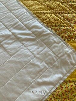 Vintage Queen Gold White & Yellow Lone Star Handmade Quilt Signed & Dated 1992