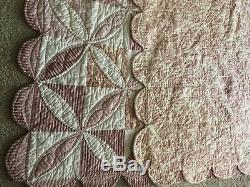 Vintage Quilt+ 2 Shams 100% Cotton Scalloped Edges Won Quilt Fair