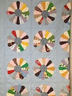 Vintage Quilt & 2 Shams Dresden Plate 40/50 Era Prints Blue Multi Color 85x 98